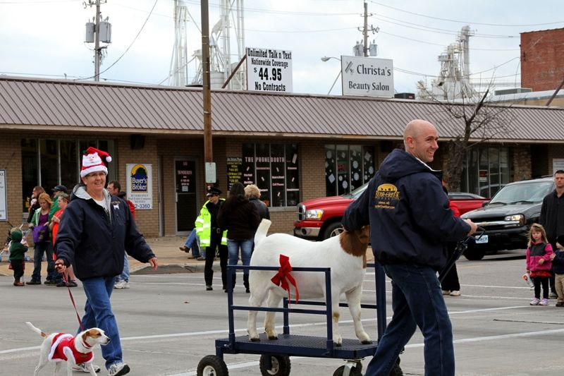 Connie, Tami the Jack Russell, Kevin and Mikayla the Boer Goat  in Lebanon, MO Christmas Parade 2011